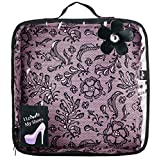 VIGAR Lulu Bolsa de Zapatos para Viaje, Material: Tela: 95%, 5% PU Resto: ABS, Polyester, Friendly, PVC Transparente, Rosa/Negro, 28 x 10 x 29 cm