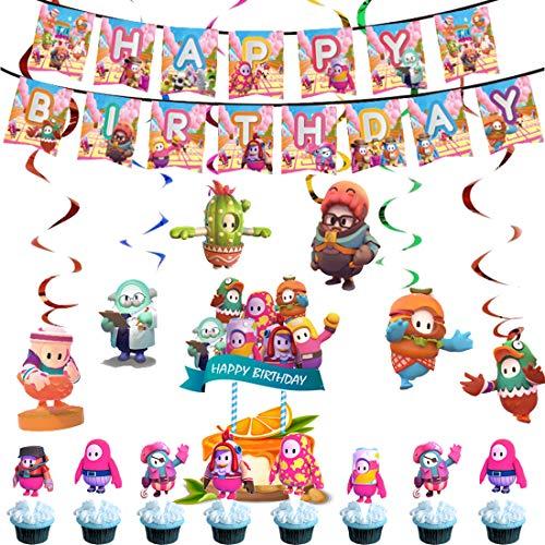 Fall Guys Geburtstag Dekoration - ZSWQ Fall Guys Happy Birthday Deko Spirale Konfetti Partykette Cupcake Topper Birthday Party Supplies