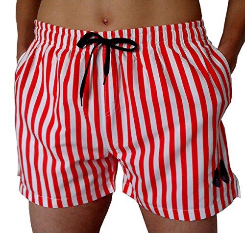 Costume da Bagno Mare Uomo a Righe Rosso e Bianco, Boxer Mare Uomo, Pantaloncino da Bagno Uomo Rigato Colore Rosso/Bianco Marca Capri Beach, Men's Striped Swim Shorts (XL, Rosso/Bianco)