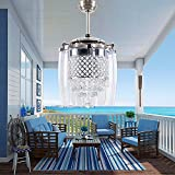 Sky Deomons 42'modern crystal ceiling fan light, with remote control timing can change 3 lights and 3 speeds, with foldable invisible fan leaf chandelier