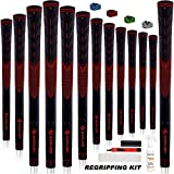 SAPLIZE Golf Grips Set of 13 with Complete Regripping Kit, Midsize, Rubber Golf Club Grips, Red CC01S Series