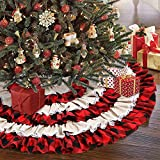 AerWo Christmas Tree Skirt 48 inches, Red Black Buffalo Check and Burlap Christmas Tree Skirt for Holiday Christmas Decorations, 6 Layers Ruffled Xmas Tree Skirt