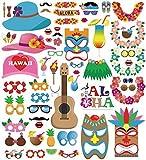 Anokay Photobooth Hawai - Kit 60 pcs Accessoires de Déguisement Tropicals Décoration Fête Musique Anniversaire Mariage Party Soirée