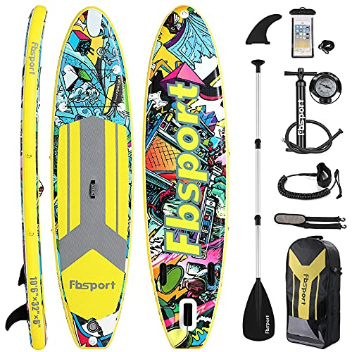 FBSPORT Premium Inflatable Stand Up Paddle Board (6 inches Thick)...
