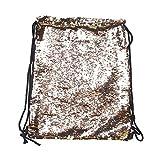 Tinksky Fashion Glitter Bag Sackpack Sequins Drawstring Backpack (Gold)