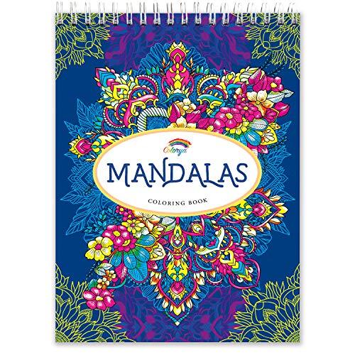 Libros Mandalas Colorear Adultos por Colorya, Papel Calidad Premium, Sin Manchas, Impresión A Una Cara, Libro Tamaño A4 y Espiralado - Libros Colorear Mandalas Adultos, Libros Colorear Adultos