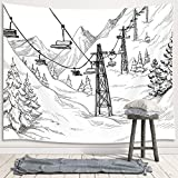 JAWO Winter Skiing Tapestry Wall Hanging, Ski Facility Mountain Holidays Sketch Christmas Premium Tapestries for Dorm Living Room Bedroom, Wall Blanket Beach Towels Home Decor 71X60 Inches