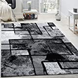 Area Rug Modern Abstract Paint Effect in Black Grey for Living-Room, Size: 5'3' x 7'7'