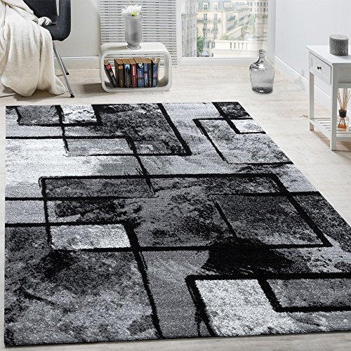 Tappeto di Design Moderno Pelo Corto Astratto Effetto Dipinto Nero Grigio Antracite, Dimensione:240x340 cm