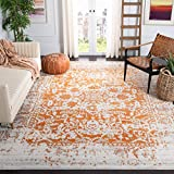 Safavieh Madison Collection MAD603P Oriental Snowflake Medallion Distressed Non-Shedding Stain Resistant Living Room Bedroom Area Rug, 8' x 10', Orange / Ivory