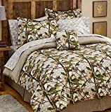 Martha's Mixed Bag Hunting Camouflage Leaves Cabin Lodge Living Green Gray Woodland Comforter Set (66' x 86') w/Gray Camouflage Sheets (6pc Twin Size)