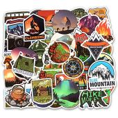 Honch Wilderness Nature Stickers Outdoors Hiking Camping Travel Adventure Stickers Pack 50 Pcs Suitcase Stickers Vinyl Decals for Car Bumper Helmet Luggage Laptop Water Bottle