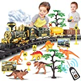 Chylldem New Electric Train Set with Remote Control, Smoke, LED Lights, Sound, Dinosaur World Playset, Dinosaur Tracks Classic Train Toy for Boys Girls, 3 4 5 6 7 8 Year Old, Gifts for Kids & Teens