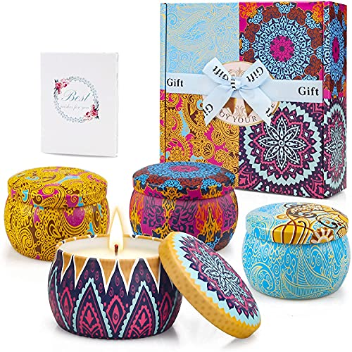 Velas Aromaticas de Regalo, 4 Piezas 5.65 oz Velas Perfumadas de Regalo Originales para Mujer 100% Cera de Soja Natural, 120 Horas de Quema, para Día de Madre, Cumpleaños, Baño, Yoga, Navidad