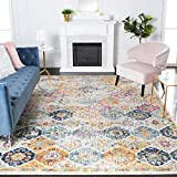 Safavieh Madison Collection MAD611B Boho Chic Floral Medallion Trellis Distressed Non-Shedding Stain Resistant Living Room Bedroom Area Rug, 4' x 4' Square, Cream / Multi