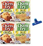 Kraft Oven Fry Seasoning, Extra Crispy Chicken and Extra Crispy Pork, Two 4.2oz Boxes of Each (4 Pack) - with Make Your Day Bag Clip