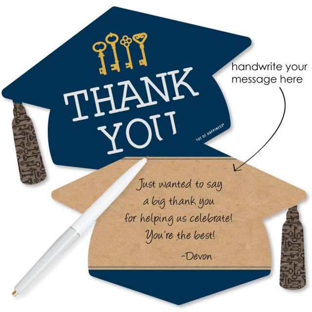 Grad Keys to Success - Shaped Thank You Cards - Graduation Party