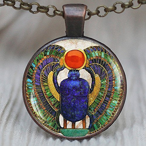 Escarabajo egipcio en azulejo, colgante