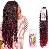 6Pcs Passion Twist Ombre Burgundy Synthetic Hair for Black Women Andromeda 18 Inch Soft Long Braids Passion Twist Crochet Braiding Hair Extensions with 5 Free Gift (1B/BUG)
