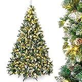 Yorbay rbol de Navidad Artificial con Luces Led de Color Blanco clido y Blanco Nevado Grande (210 cm 410LED)