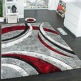 Paco Home Tapis Design à Contours Motif Ligné Moucheté Gris Noir Rouge...