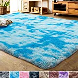LOCHAS Luxury Velvet Shag Area Rug Modern Indoor Fluffy Rugs, Extra Comfy and Soft Carpet, Abstract Accent Rugs for Bedroom Living Room Home Girls Kids, 4x6 Feet Blue