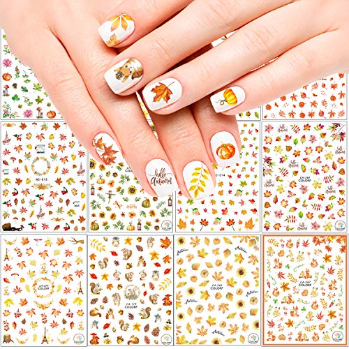 Adurself 1000+ Patterns Autumn Nail Art Decals Fall 3D Nail Self-Adhesive Stickers Harvest Pumpkin Maple Leaves Sunflower Squirrel for Women Girls Kids DIY Nail Design Manicure Thanksgiving Day