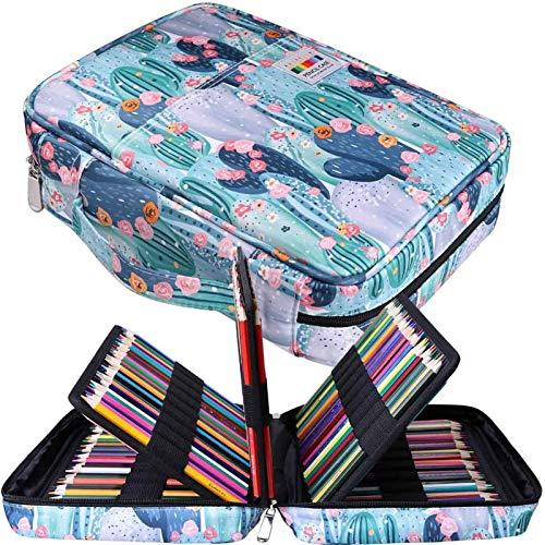 JAKAGO - Astuccio per 220 matite colorate, grande capacit, multistrato, impermeabile, per pastelli acquerellabili, pennarelli e penne gel, ottimo regalo per studenti di arte L Cactus