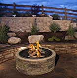 Cast Stone Wood Burning Fire Pit 35' Diameter Steel Base By Huntington Cove w/ 26' Mesh Screen Spark Protector w/ Lift Hook, Large Heat Resistant Fire Bowl, Appealing Medium Brown Simulated Stone Base