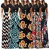 Chaofanjiancai Elegant Women's Maxi Dress Floral Printed Summer Short Sleeves Casual O-Neck Long Maxi Dress #4