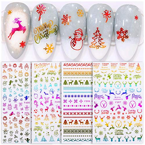 Xmas Nail Stickers Cute Animal Reindeer Decals Wreath Gold Star Jewels for Nail Art Gel Polish Embellishments Kit Strips