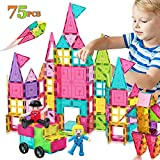 HOMOFY Kids Magnet TilesToys 75Pcs Oversize 3D Magnetic Building Blocks Tiles Set,Inspirational Educational Toys for 3 4 5 6 Year Old Boys Gilrs Gifts