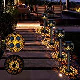 Outdoor Solar Lanterns Outdoor Solar Garden Lights Decorative Solar Flower Lights Solar Pathway Lights Landscape Lights Waterproof Flower Bed Lights High Lumen Solar Lights for Yard,Patio(4 Pack)