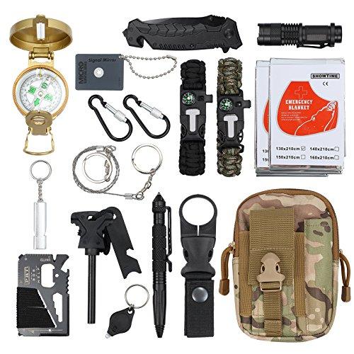 18 in 1 Survival Kit Survival Bag Multifunktionale Werkzeugtasche mit Notfalldecke Notfall Überlebensausrüstung für Reisen Wandern Camping im Freien