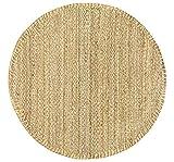 HAMID - Tapis de Jute Granada 100% Fibre de Jute Naturelle - Moquette Douce et Résistance Moyenne - Tissé à la Main - Salon, Chambre, Tapis de Couloir - Naturel (100x100cm)