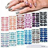 168 Pieces Gradient Marble Full Nail Strips 12 Sheet Marble Printed Full Wrap Nail Stickers Self-Adhesive Nail Decal Strips with Nail File for Women Girls Nail Decoration Supplies (Sweet Pattern)