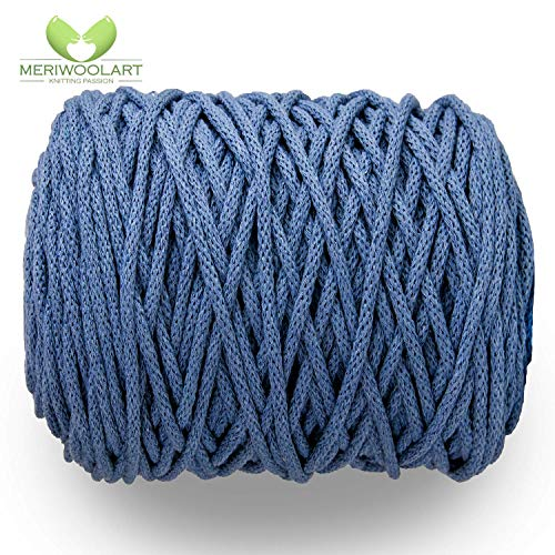 MeriWoolArt Makramee Makramee Garn 6mm, 100m, 50m Baumwolle Seil, Kordel für Tepisch, Quasten, Kisen, Ablagekörbe und Baumwolle Stricken (Jeans, 50 Meter)