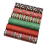 David Angie Merry Christmas Faux Leather Sheet Assorted Synthetic Leather Fabric 6 Pcs 7.9' x 13.4' (20 cm x 34 cm) for Hair Bows Headbands Making Festival Handmade Crafts (Pattern A)