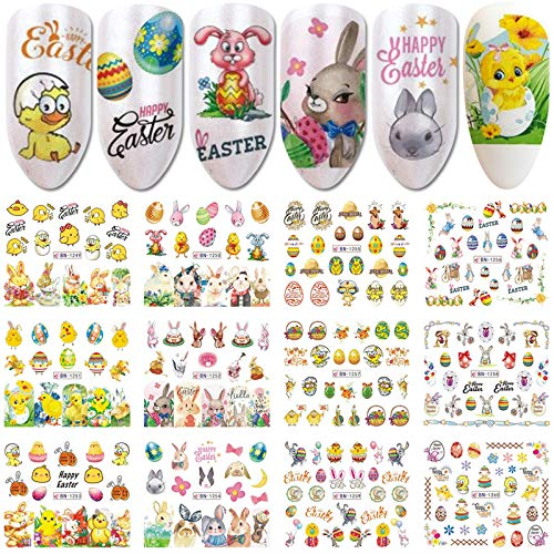 12 Designs Easter Nail Art Stickers Bunny Nail Decals Water Transfer Eggs Chicken Cartoon Rabbits Nail Design Stickers Cute Holiday Nail Sticker Nail Decoration for Women Kids Grils DIY Manicure