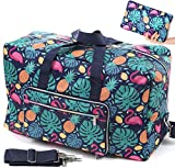 Ladies Women Foldable Travel Duffle Bag - Cute Floral Weekender Overnight Carry-on Bag - Large Hospital Bag (Z-Monstera deliciosa)