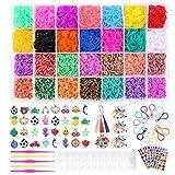 Tintec Gomitas para Hacer Pulseras, 10000Pcs Gomitas Elásticas Plásticas de 28 Colores para Tejer Bandas de Goma de Juguete para Niñas Anillos Collares de Bricolaje Manualidad Niña