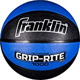Franklin Sports Grip-Rite 1000 Youth Basketball — Durable Basketball — Junior Size Basketball for School, Camp, Home Basketball Practice — Indoor and Outdoor Basketball — Black/Red —27.5'