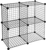 AmazonBasics Lot de 4 cubes de rangement en fil métallique - Noir