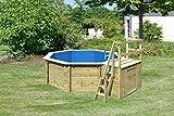 Paradies - Piscine en bois avec pare-soleil Accessoires de piscine pour le jardin - Tapis de bain pour toute la famille - Achteck-piscine - 400 x 120 cm (Ø x H) - Quantité : 1 pièce.