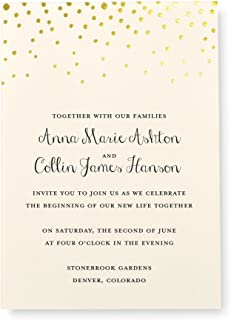 Gartner Studios Gold Foil Dots Print at Home Wedding Invitation Kit, Includes Response..