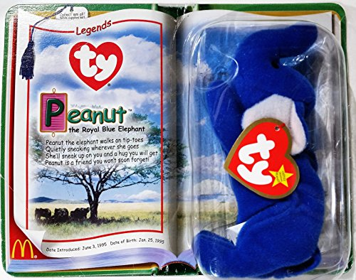 TY McDonald's Teenie Beanie - PEANUT the Royal Blue Elephant (2000)