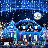 Christmas Lights Super Long 1280 LED 131 FT LED String Lights with 240 Drops Plug in 8 Modes Christmas Decoration for Holiday Wedding Party Bedroom Garden Patio Outdoor Indoor (Blue)