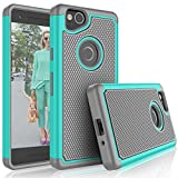 Google Pixel 2 Case, 2017 Google Pixel 2 Cute Case, Tekcoo [Tmajor] Shock Absorbing [Turquoise] Hybrid Combo Rubber Silicone & Plastic Scratch Resistant Bumper Rugged Sturdy Grip Hard Cases Cover