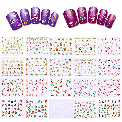 700+ Designs Christmas Nail Decals(20 Sheets), Konsait Christmas Nail Wraps Peel and Stick 3D Nail Art Stickers Self Adhesive for Women Kids Girls Kiss Designs for Xmas Party Favor Decoration Supplies