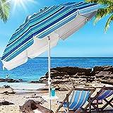 Aoxun Beach Umbrella, 7ft UV 50+ Umbrella with Sand Anchor & Tilt Aluminum Pole, Portable Beach...